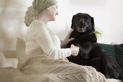 Att ge sig för hund tafsar den sjuka kvinnan arkivbilder