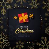 Att gifta sig banret för jul och för det lyckliga nya året på mörk bakgrund med snöflingor och gåvaaskar också vektor för coreldr Royaltyfria Foton