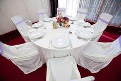 Att gifta sig bordlägger garneringen Arkivbilder