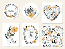 Att gifta sig den blom- samlingen med den drog handen blommar och växter stock illustrationer