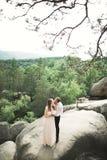 Att gifta sig förälskat kyssa för par och att krama nära vaggar på härligt landskap Royaltyfri Fotografi