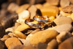 Att gifta sig guld- cirklar på vaggar Arkivfoton