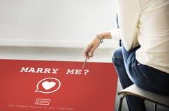 Att gifta sig mig? Valentine Romance Heart Love Passion begrepp Arkivfoto