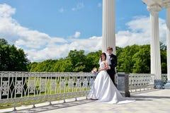 Att gifta sig par på naturen är att krama sig Fotografering för Bildbyråer