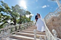 Att gifta sig par på naturen är att krama sig Royaltyfri Fotografi