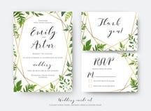 Att gifta sig som är blom-, inviterar, inbjudan, rsvp, tacka dig att card mallen royaltyfri illustrationer