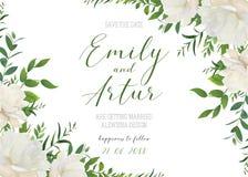 Att gifta sig som är blom-, inviterar, inbjudan, sparar datumkortdesignen Wh royaltyfri illustrationer