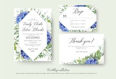 Att gifta sig som är blom-, inviterar, rsvp, tacka dig kortdesignen med elegant royaltyfri illustrationer