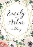 Att gifta sig som är elegant, inviterar inbjudan, sparar intelligensen för datumkortdesignen royaltyfri illustrationer