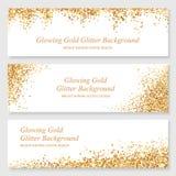 Att glöda guld- blänker titelraduppsättningen Vektor Illustrationer