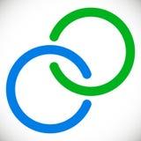 Att gripa in i varandra cirklar cirklar Abstrakt logobeståndsdel i blått och gr royaltyfri illustrationer