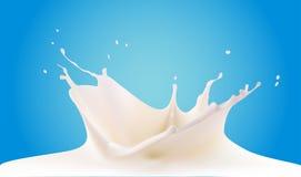 Att hälla mjölkar färgstänk på blå bakgrund Arkivbild