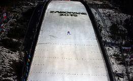 att hoppa skidar Royaltyfri Fotografi