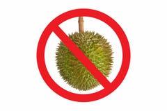 Att inte låta Duriansymbolet som isoleras på vit bakgrund Förbjudet rött tecken för cirkel på Durianfotoet Stinkande mat är inte  Royaltyfri Fotografi