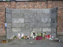 Att jämra sig vägg i en koncentrationsläger auschwitz birkenau Royaltyfria Foton
