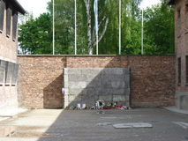 Att jämra sig vägg i en koncentrationsläger auschwitz birkenau Arkivbilder