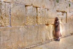 Att jämra sig vägg som ber, Jerusalem Israel Arkivfoto