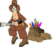 att jaga vallfärdar kalkoner stock illustrationer