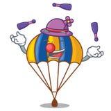 Att jonglera hoppa fallskärm i fuuny form av acartoon royaltyfri illustrationer