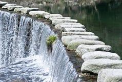 Att kliva stenen och bevattnar Arkivfoton