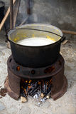 att koka mjölkar Royaltyfri Bild