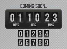 Att komma snart bl?ddrar klockatidm?tarenedr?kning p? gr? bakgrund r vektor illustrationer