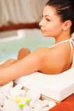 Att koppla av i varmt badar Royaltyfri Foto