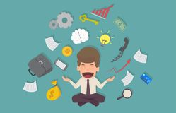 Att le för affärsman mediterar att klara av med spänning från hårt arbete Arkivfoto