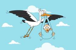 Storken med behandla som ett barn pojken Arkivbilder