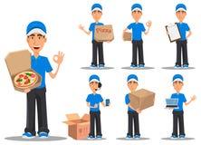 Att le leveransmannen i blå likformig, ställde in royaltyfri illustrationer