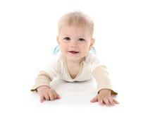 Att le som är lyckligt, behandla som ett barn på vit Arkivfoton