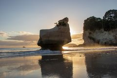 Att le som är sphiny, vaggar under soluppgång som ses på domkyrkaliten vikstranden, haheien, coromandel, Nya Zeeland arkivbild