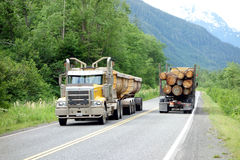 Att logga åker lastbil på arbete i Kanada Royaltyfria Foton