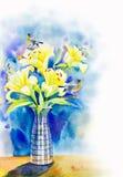 Att måla som är färgrikt av skönhetbukett blommar lilly, och fågeldirektstöt Arkivfoton