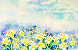 Att måla som är färgrikt av skönhetbukettlilja, blommar och fågeldirektstöt Royaltyfri Fotografi