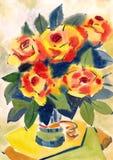 Att måla steg blommor Fotografering för Bildbyråer