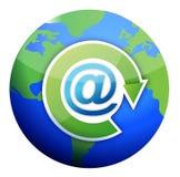 Att mail sign over globe Stock Photos