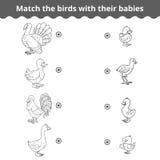 Att matcha leken för barn, lantgårdfåglar och behandla som ett barn stock illustrationer