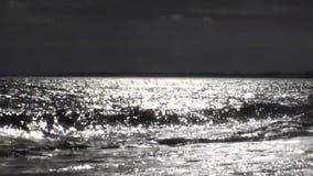 Att moussera vågor är glänsande på en solig sommardag Svartvitt tema arkivfilmer