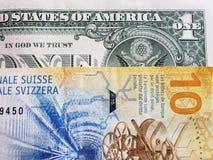 att närma sig en schweizisk sedel av tio franc och amerikansk dollarräkning, bakgrund och textur arkivfoton