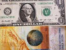 att närma sig en schweizisk sedel av tio franc och amerikansk dollarräkning, bakgrund och textur royaltyfri foto