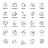 Att packa ihop och isometriska symboler för pengar packar royaltyfri illustrationer