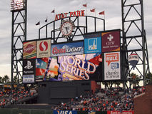 ATT Park HDTV Scoreboard in the outfield bleachers displays Worl Royalty Free Stock Photography