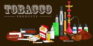 Att röka symboler för tobakprodukter ställde in med illustrationen för vektorn för cigarettvattenpipacigarrer tändaren isolerade vektor illustrationer