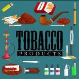 Att röka symboler för tobakprodukter ställde in med illustrationen för vektorn för cigarettvattenpipacigarrer tändaren isolerade Arkivfoto