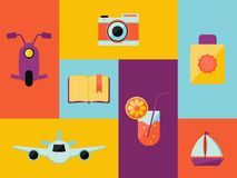 Att resa symboler st?llde in i tecknad filmstil f?r designaffisch royaltyfri illustrationer