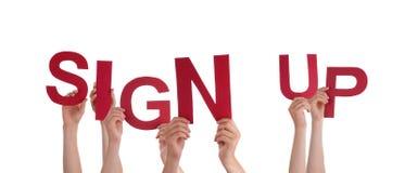 Att rymma för händer undertecknar upp Arkivfoto