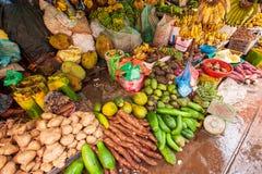 Att sälja bananer är moget, vaniljsåsäpplen, driftstoppbönor, jackfruit, p arkivbilder