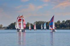 Att segla seglar på Donet River nära Rostov-On-Don royaltyfri fotografi