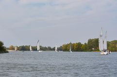 Att segla seglar på Donet River nära Rostov-On-Don arkivfoton